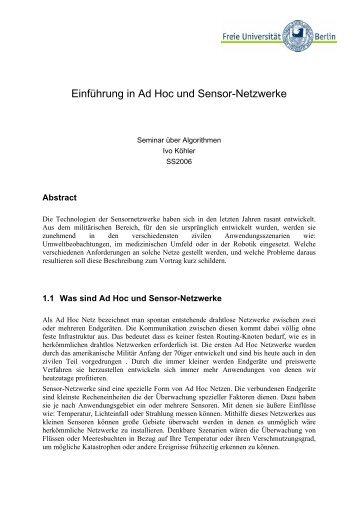 Einführung in Ad Hoc und Sensor-Netzwerke