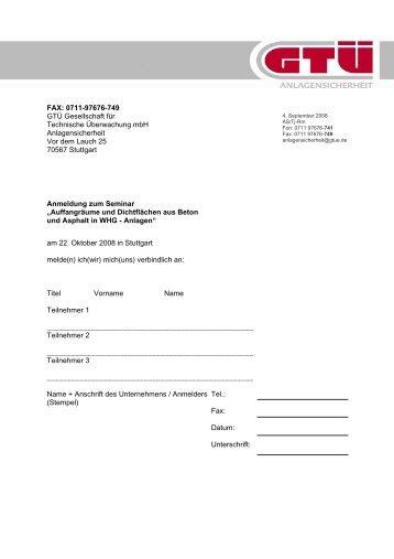Anmeldung und Programm VAwS Forum (pdf, 32.7 kB) - GTÜ