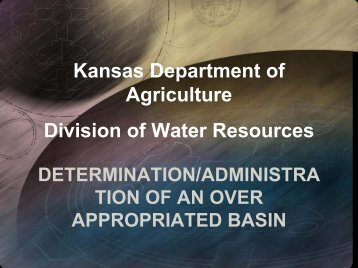 Kansas Department of Agriculture Division of Water Resources