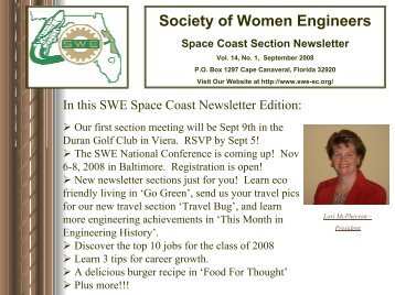 September 2008 - Society of Women Engineers, Space Coast Section
