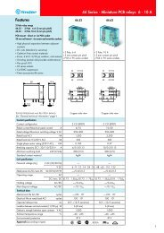 Features 44 Series - Miniature PCB relays 6 - 10 A