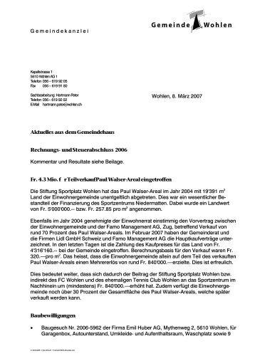 Briefvorlage A4 Der Gemeinde Wohlen Freiamt Online