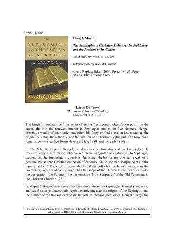 The Septuagint as Christian Scripture. Its... - Fontes