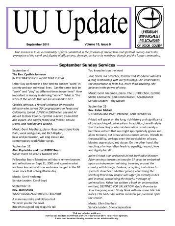 September 2011 - Unitarian Universalist Fellowship of Door County