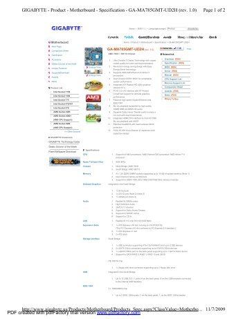 Page 1 of 2 GIGABYTE - Product - Motherboard - Specification - GA ...