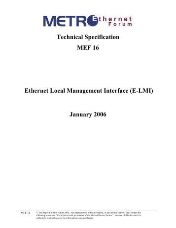 Technical Specification MEF 16 Ethernet Local Management Interface