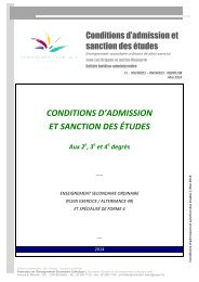 conditions d'admission et sanction des études - Accueil fédération ...