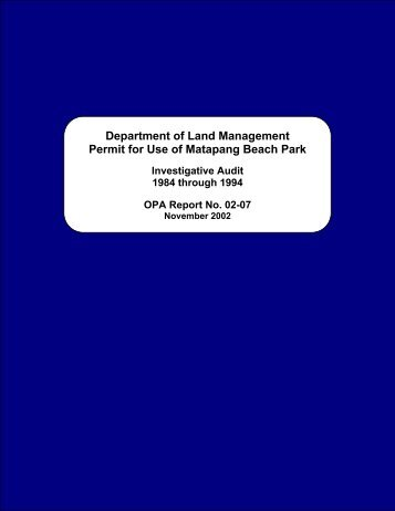 Department of Land Management - The Office of Public Accountability