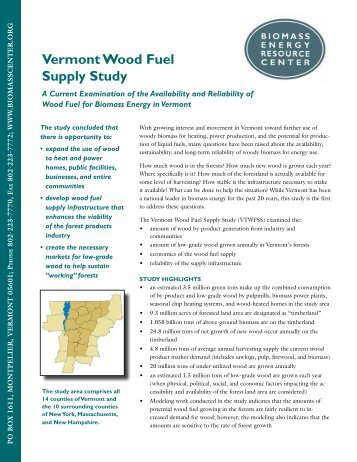 Vermont Wood Fuel Supply Study - Biomass Energy Resource Center