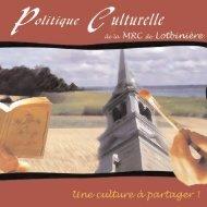 politique culturelle - MRC Lotbinière