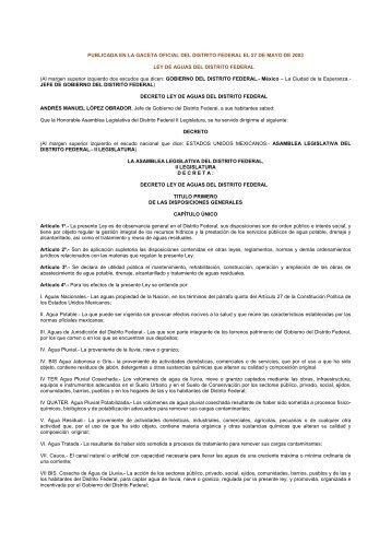 Ley de Aguas del Distrito Federal - Contraloría General - Gobierno ...