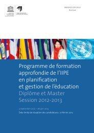Programme de formation approfondie de l'IIPE en ... - IIEP - Unesco