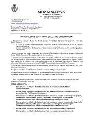 Dichiarazione sostitutiva di atto di notorietà - Comune Albenga
