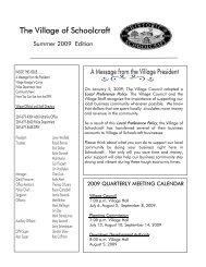Summer 2009 Newsletter - the Village of Schoolcraft, Michigan