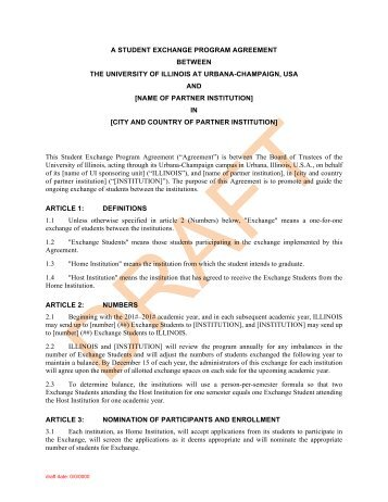 National Student Exchange  Foreign Placement Services Agreement