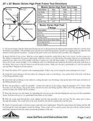 x 20' Master Series High Peak Frame Tent Directions - Celina Tent