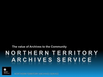 NORTHERN TERRITORY ARCHIVES Service - Department of Arts ...