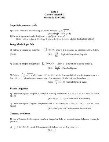 Lista 5 Cálculo Vetorial II Versão do 12-6-2012 Superfície ... - Unesp