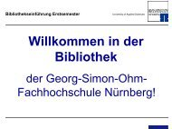 Bibliothekseinführung Erstsemester - Georg-Simon-Ohm ...