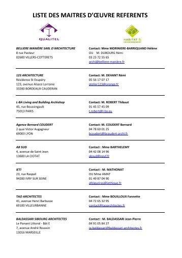 Télécharger la liste des Maîtres d'oeuvre référents