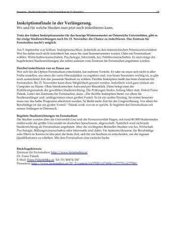 """Pressetext """"Flexible Inskription"""" - Zentrum für Fernstudien"""