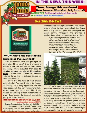 IN THE NEWS THIS WEEK: - Hanna & Hanna Orchards