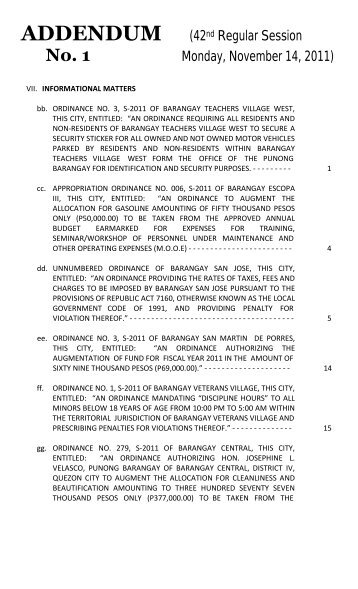 ADDENDUM (42nd Regular Session Monday, November 14, 2011)