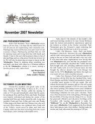 November 2007 Newsletter - German-American Club of Boise, Idaho