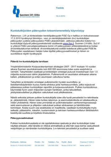 Vastaanottajan yhteystiedot - Suomen LVI-liitto   SuLVI ry