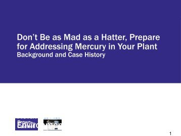 Don't Be as Mad as a Hatter, Prepare for Addressing Mercury in ...