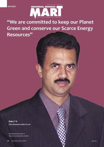 Interview with Industrial Business Mart,July 2012 by Mr. Babu T K