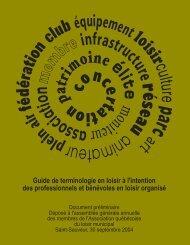 Guide de terminologie en loisir... - Portail des associations et ...