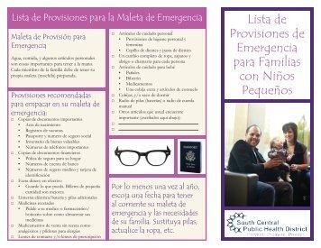 Lista de Provisiones de Emergencia para Familias con Niños ...