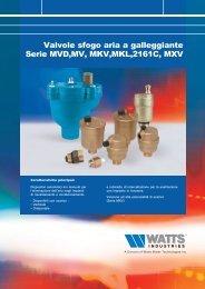 Valvole sfogo aria a galleggiante Serie MVD,MV ... - WATTS industries