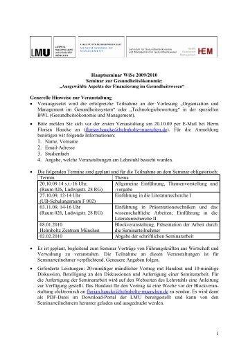 1 Hauptseminar WiSe 2009/2010 Seminar zur Gesundheitsökonomie