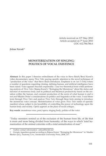 MONSTERIZATION OF SINGING: POLITICS OF ... - New Sound