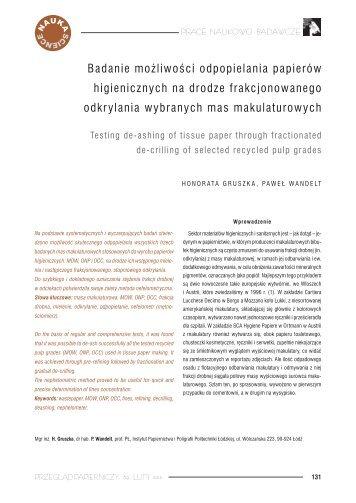 Badanie możliwości odpopielania papierów higienicznych na ...