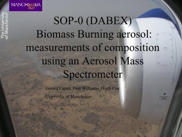 Biomass Burning aerosol: measurements of composition ... - AMMA