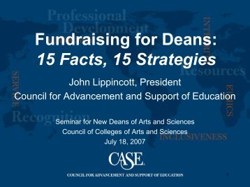 Fundraising for Deans: 15 Facts, 15 Strategies - CASE