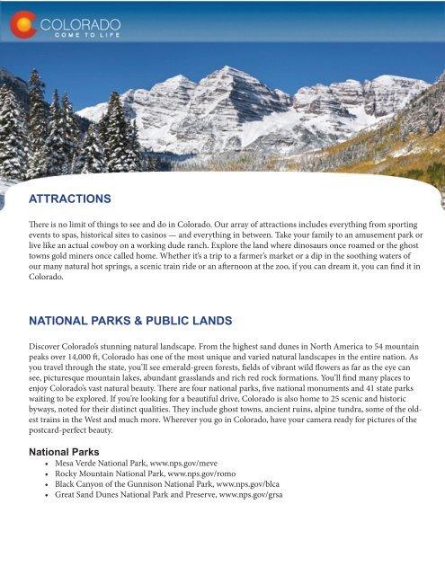 ATTRACTIONS NATIONAL PARKS & PUBLIC LANDS