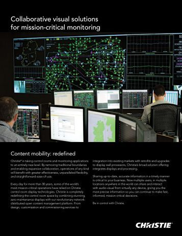 Christie Control Room Solutions Overview - Christie Digital Systems