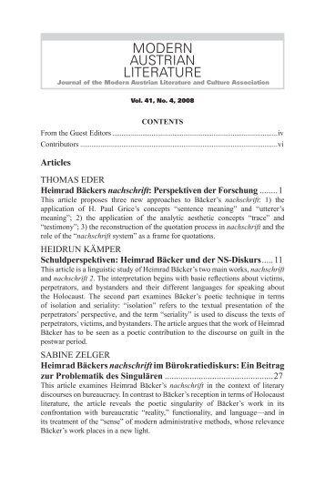 MODERN AUSTRIAN LITERATURE - Austrian Studies Association