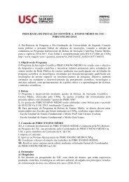 PROGRAMA DE INICIAÇÃO CIENTÍFICA: ENSINO MÉDIO DA USC ...