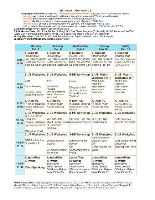 ESL Lesson Plan Week 23 pdf - eslriverside