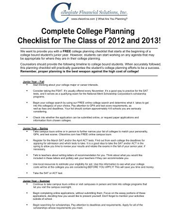 planning for college checklist Your journey to college starts early in high school,  this planning calendar makes it easy, with a checklist for every year of high school.
