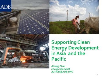 Supporting Clean Energy Development in Asia and the Pacific
