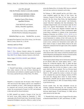 Motley v. Division of State Police - Appellate Law NJ Blog