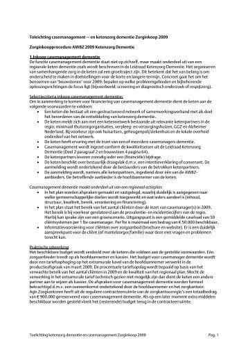 Toelichting op ketenzorg dementie en casemanagement 2009