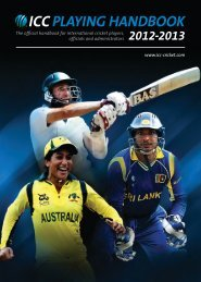 PLAYING HANDBOOK - International Cricket Council