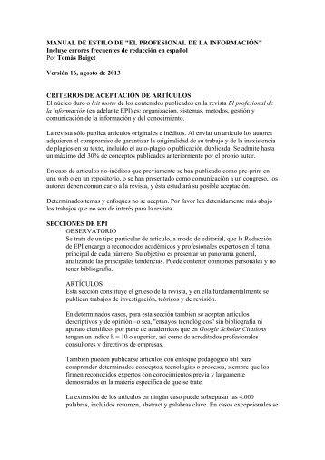 MANUAL DE ESTILO DE - El profesional de la información